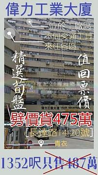 偉力工業大廈 B座  【劈價貨、比成交價底!